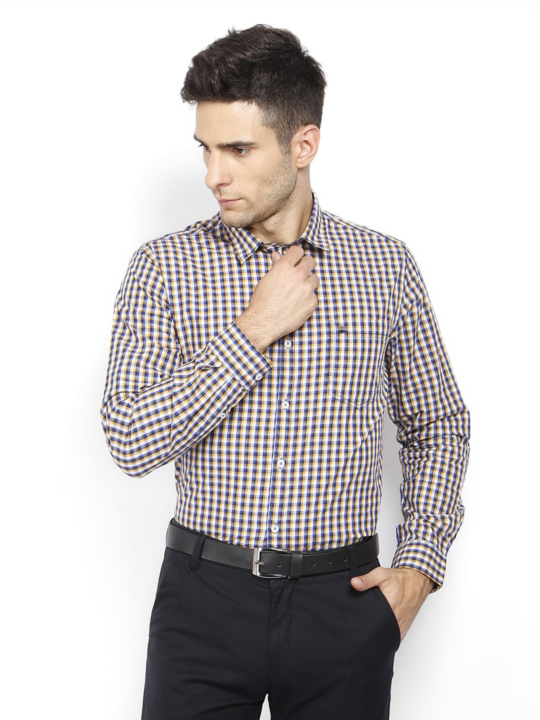 Oxemberg Oxemberg Men White & Yellow Checked Slim Fit Smart-Casual Shirt (Multicolor)