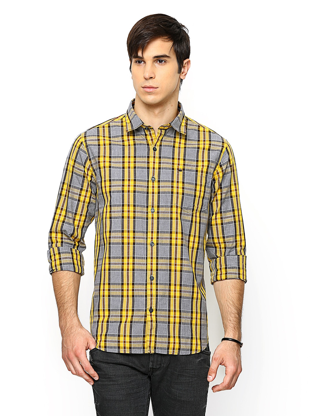 Oxemberg Oxemberg Men Yellow & Grey Checked Slim Fit Casual Shirt (Multicolor)