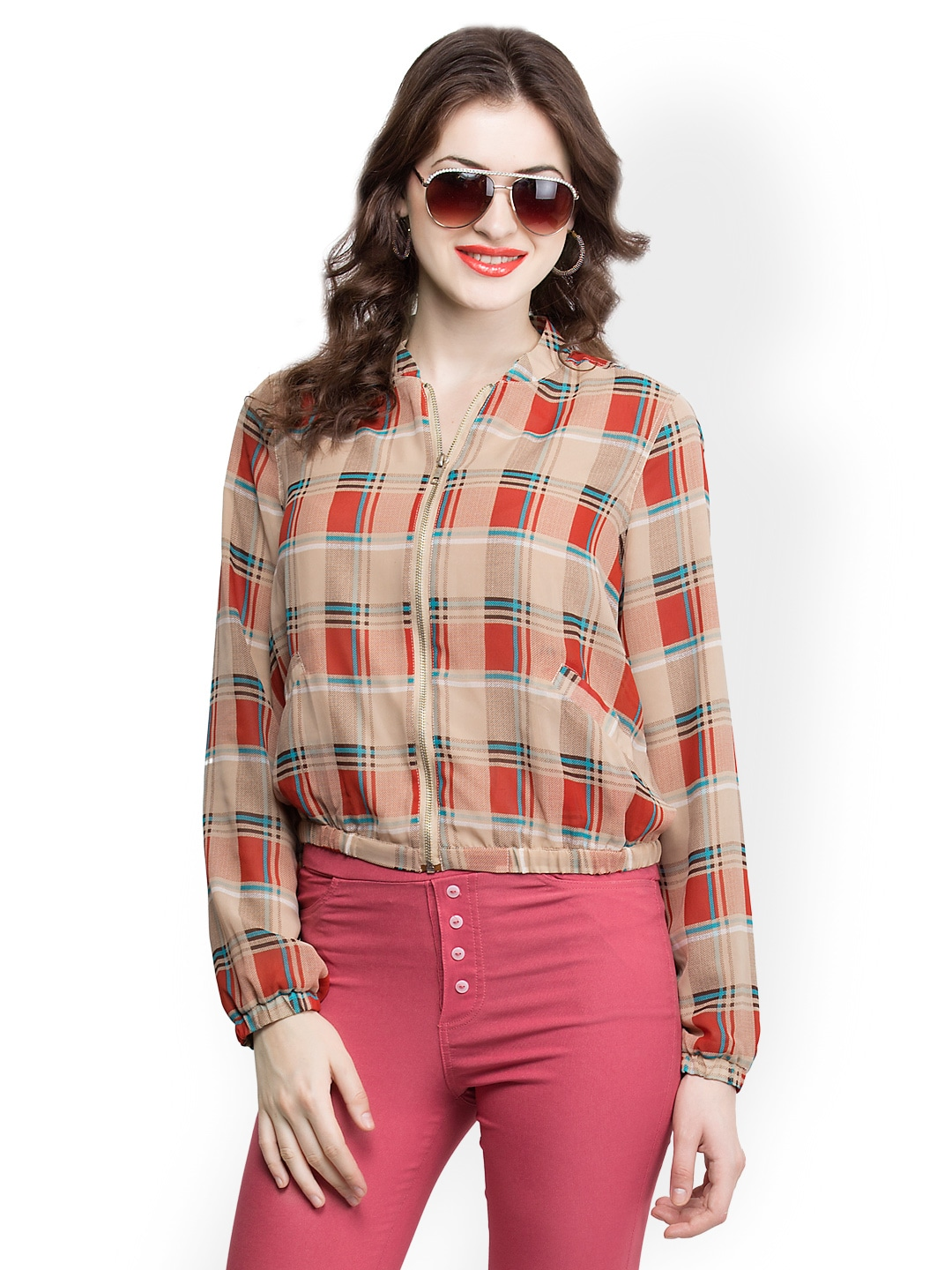 Oxolloxo Women Brown Checked Jacket