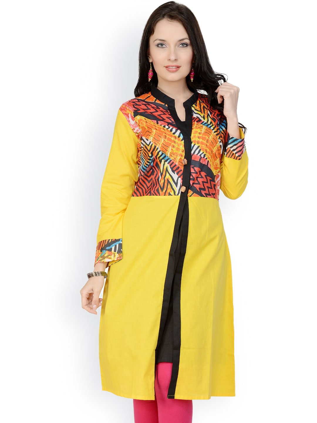 Pannkh Women Yellow Printed Kurta