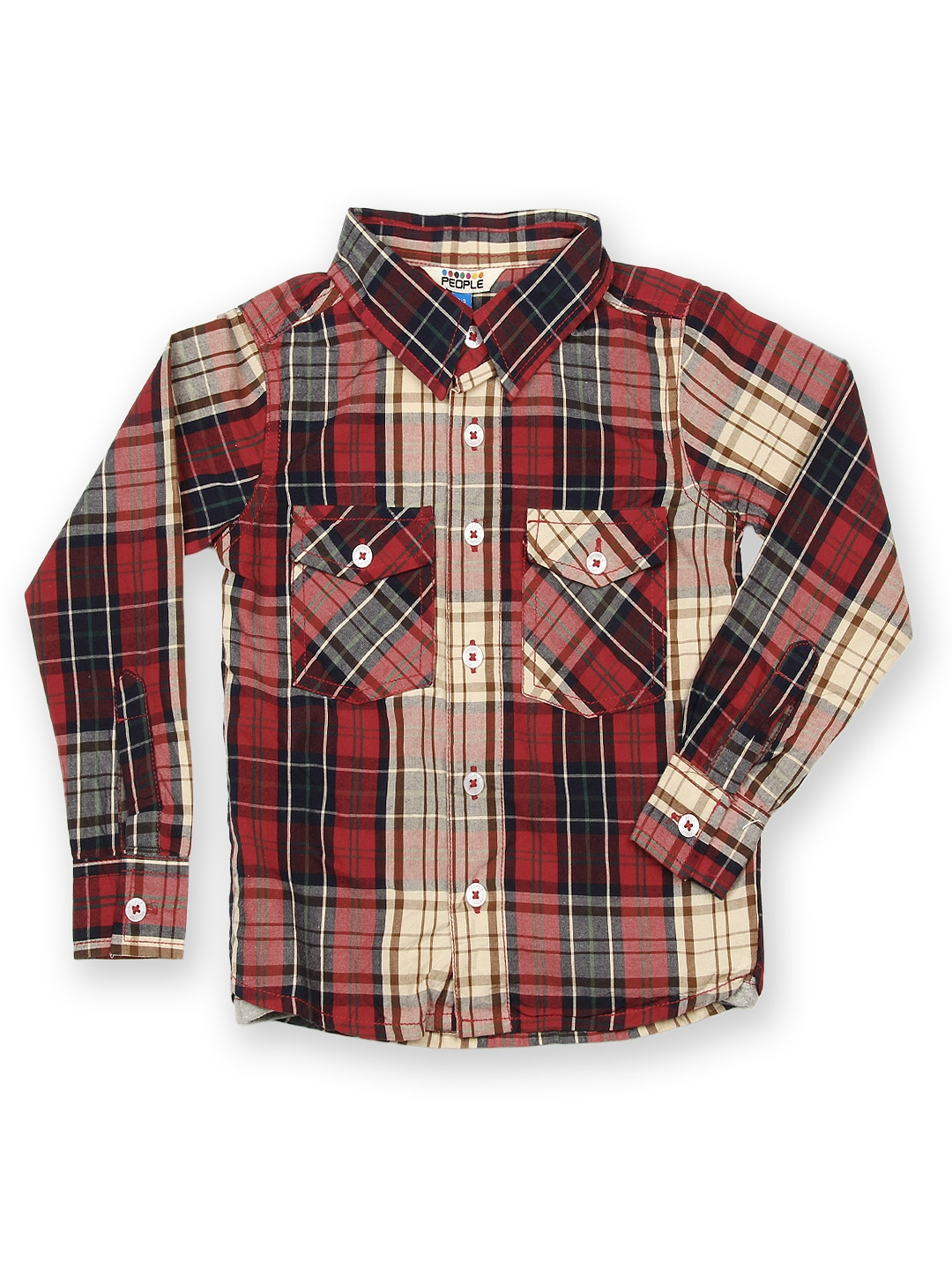 Red People Boys Red & Beige Checked Shirt (Beige\/Sand\/Tan)