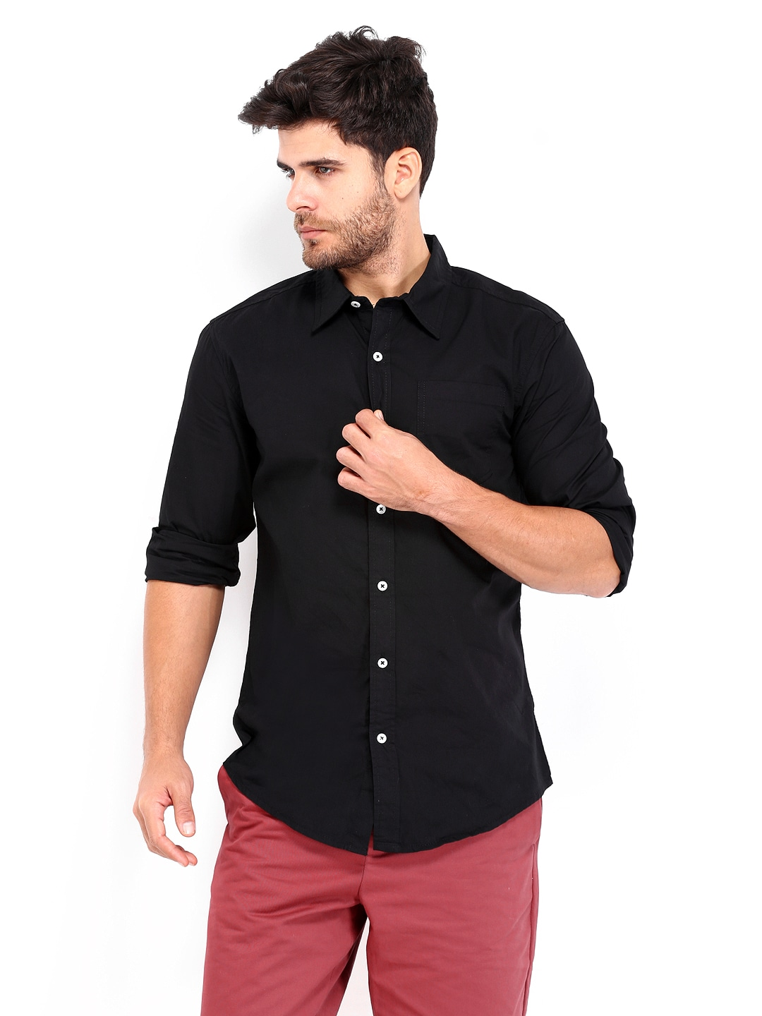 People Men Black Relaxed Fit Casual Shirt