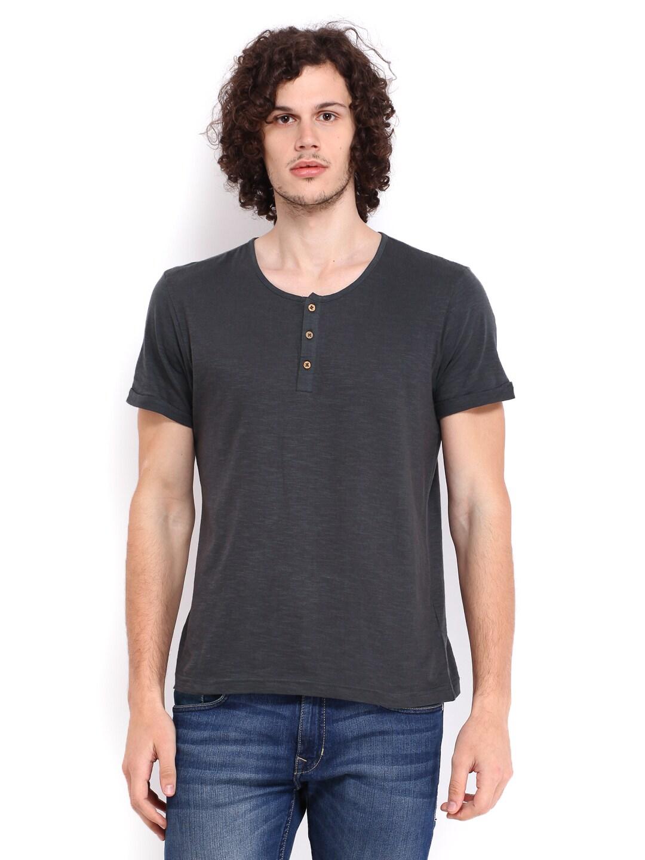 People Men Charcoal Grey Henley Neck Tshirt