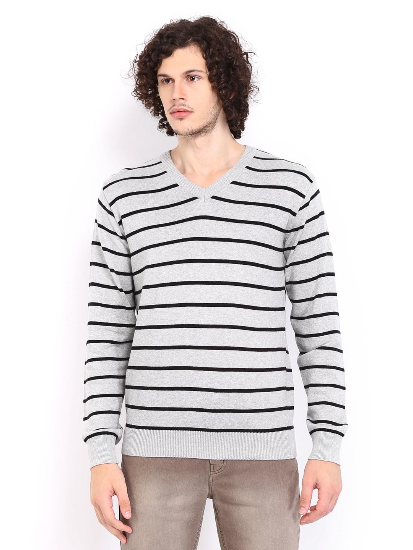 People Men Grey  Black Striped Sweater