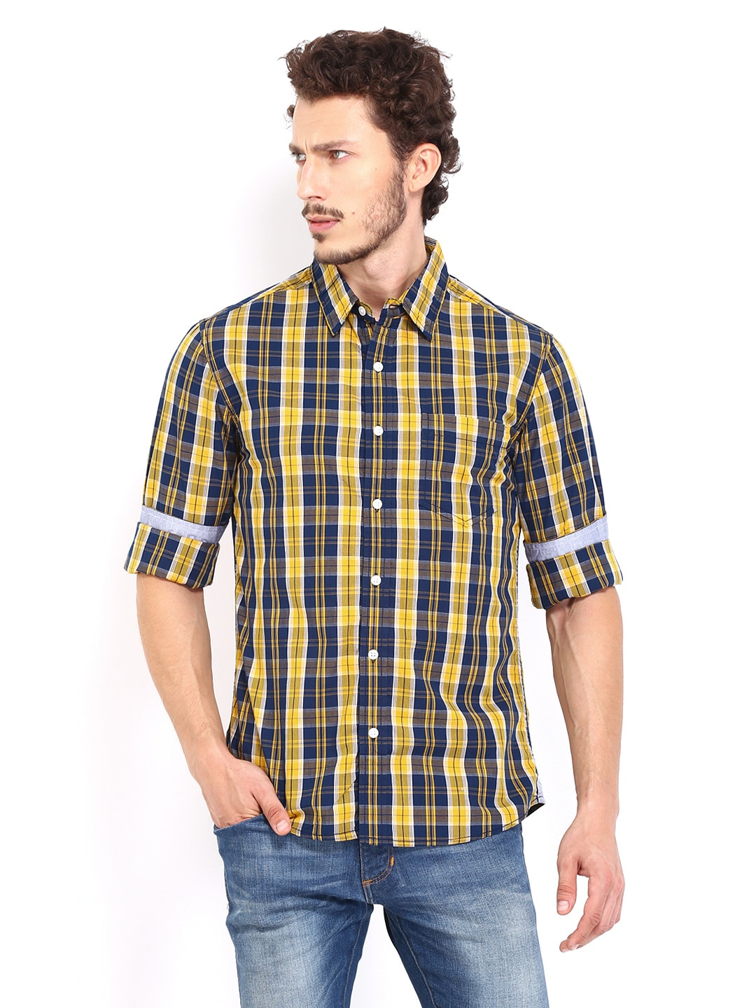 Mustard People Men Mustard Yellow & Navy Checked Slim Fit Casual Shirt (Multicolor)