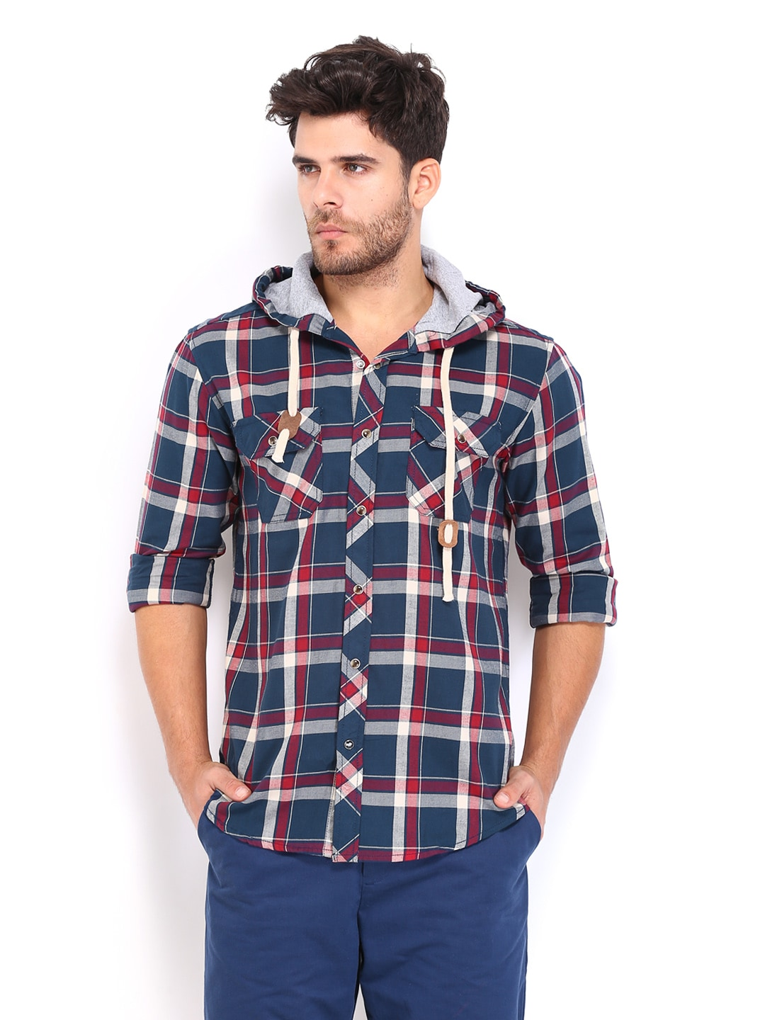 People Men Navy  Red Checked Relaxed Fit Hooded Casual Shirt