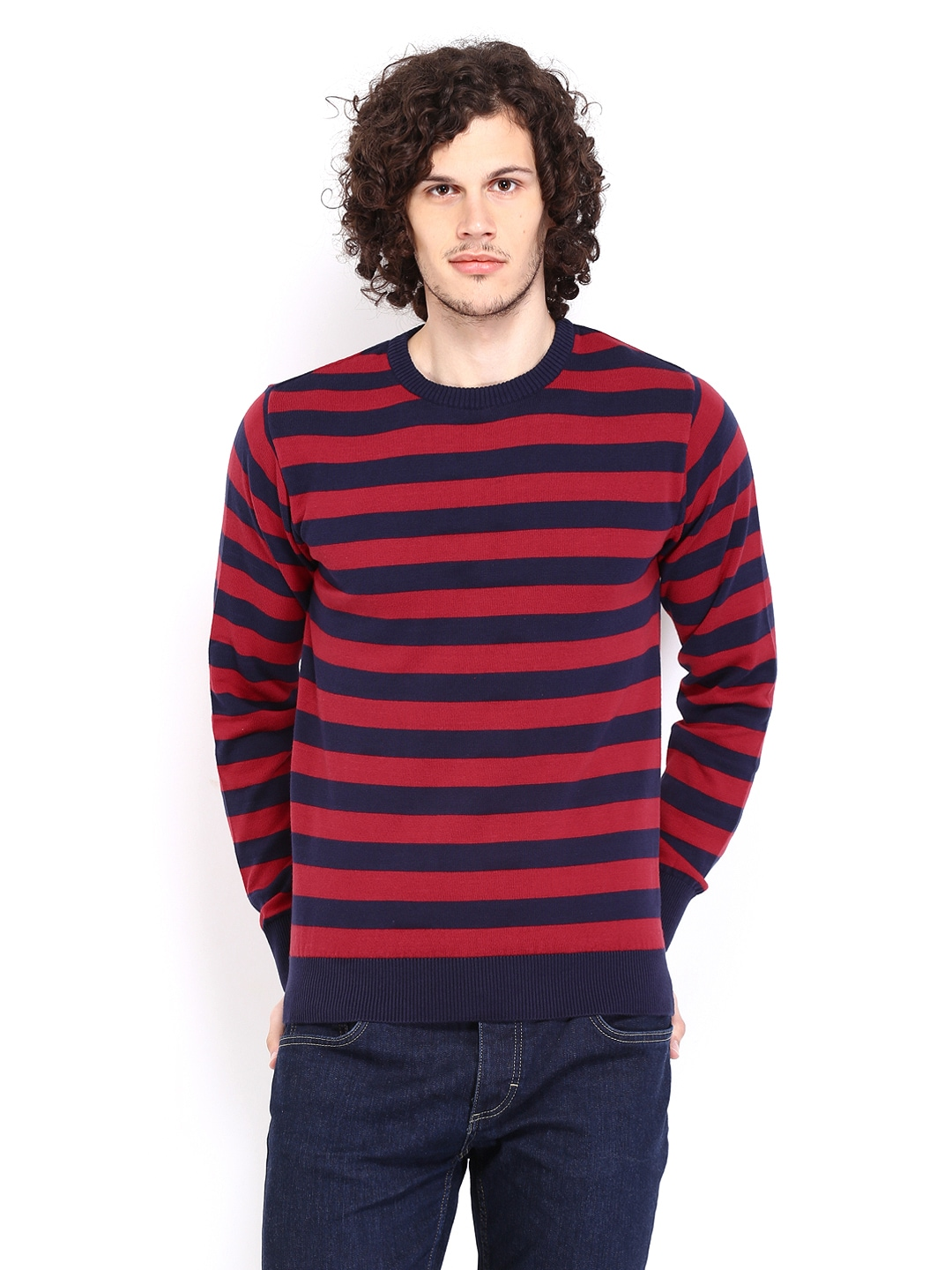 People Men Navy  Red Striped Sweater