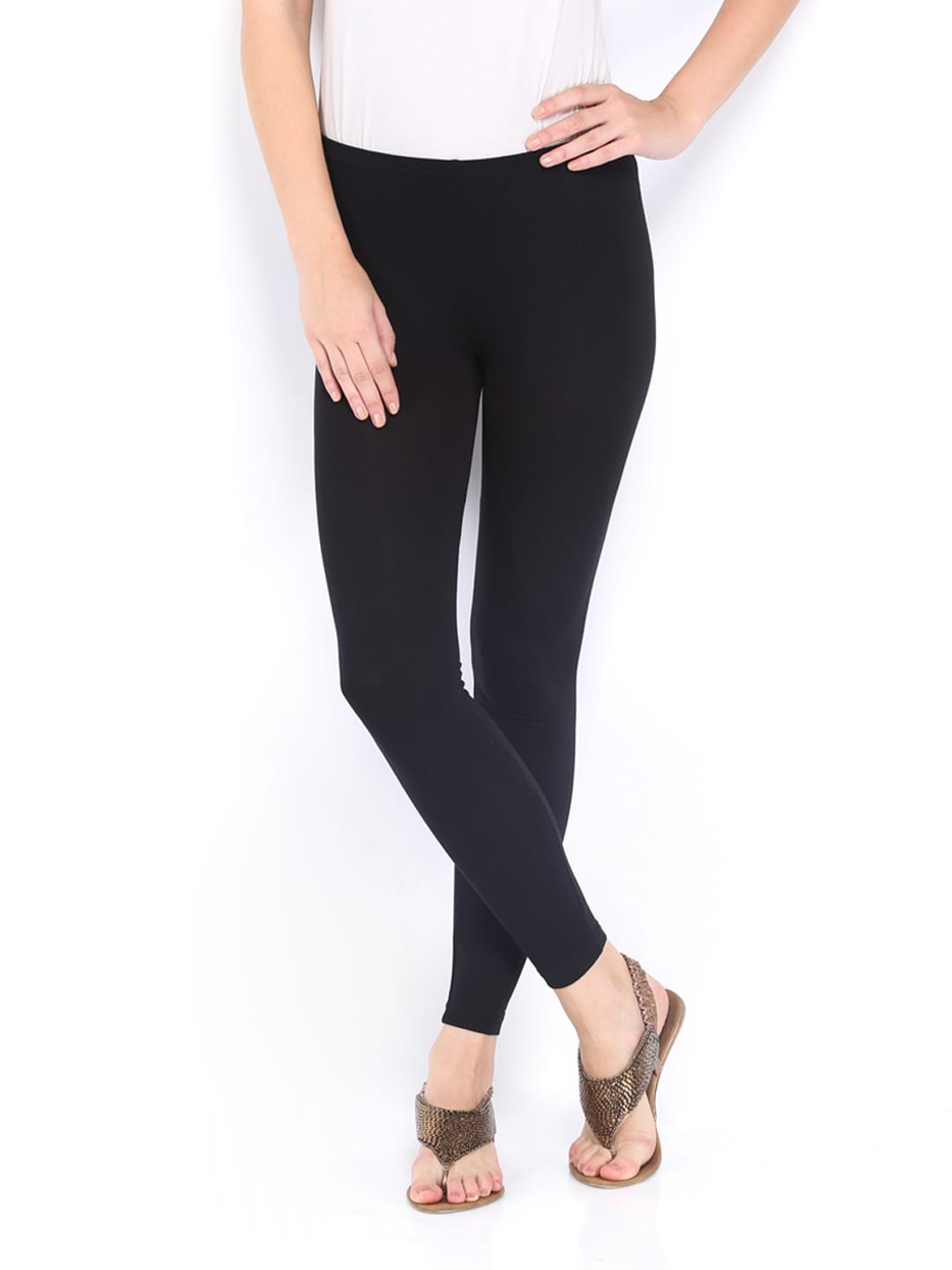 People Women Black Viscose Stretch Leggings