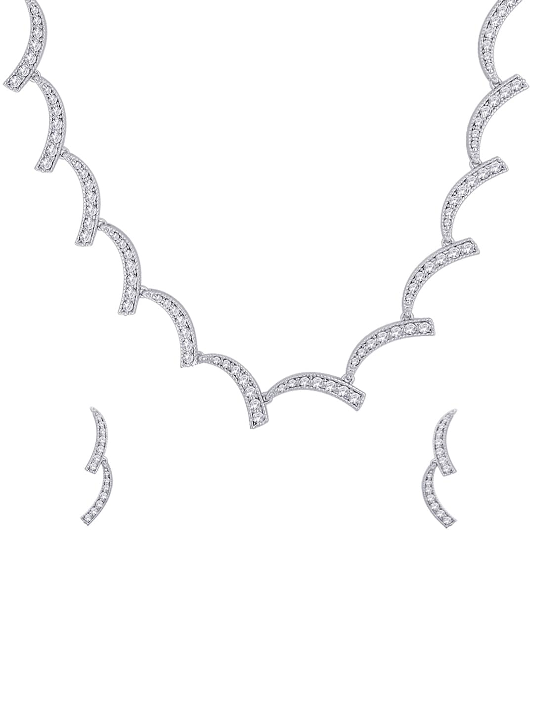 Peora Rhodium Plated Sterling Silver Jewellery Set