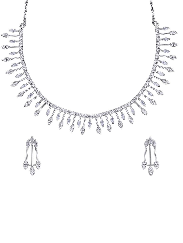 Peora Rhodium Plated Jewellery Set