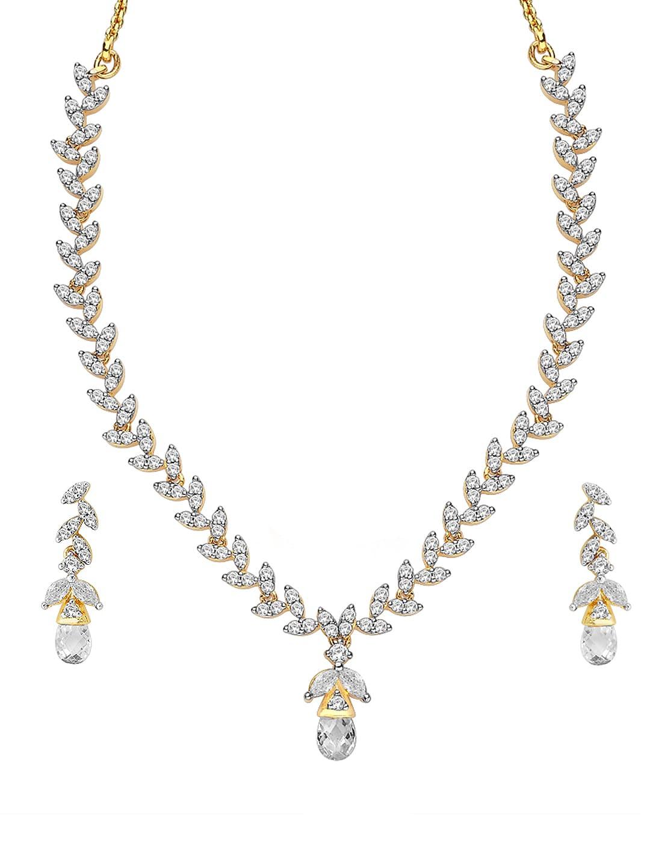 Peora Gold Toned Rhodium Plated Jewellery Set
