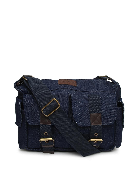 Buy Pepe Jeans Men Blue Denim Messenger Bag 2840376 for online in ...
