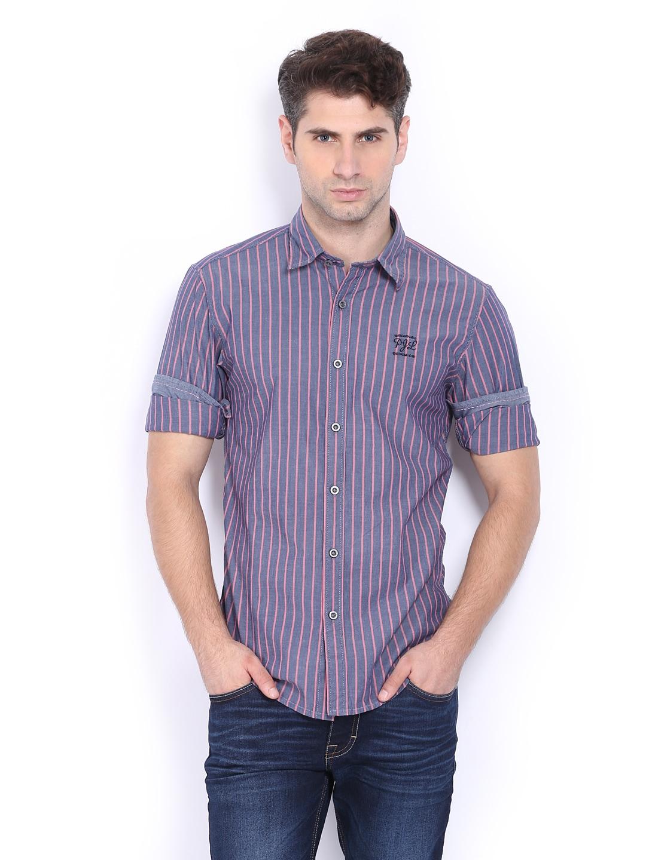 Pepe Jeans Men Blue & Pink Striped Slim Fit Casual Shirt (multicolor)