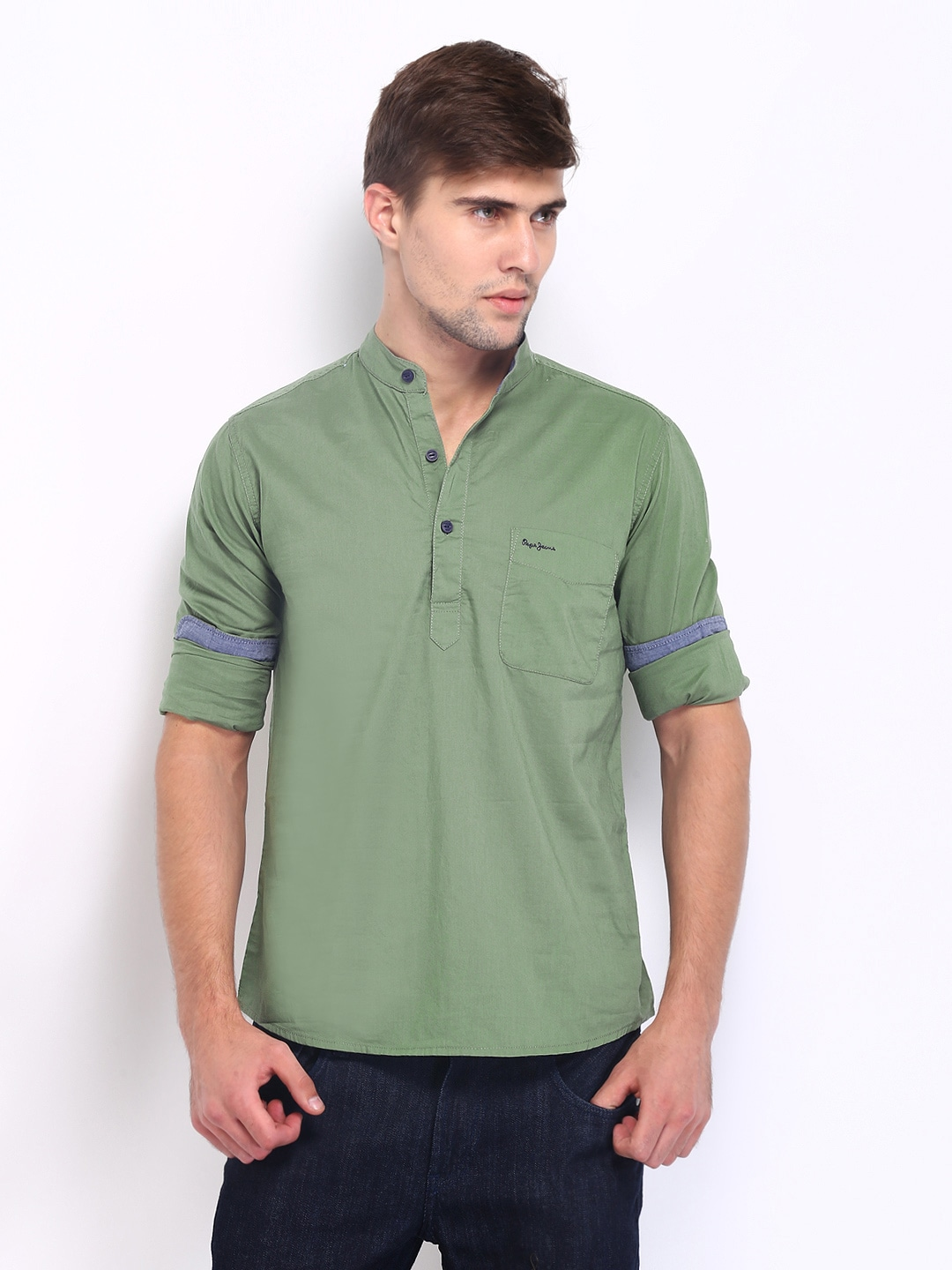Buy Pepe Jeans Men Olive Green Semi Fit Casual Shirt - Shirts for ...