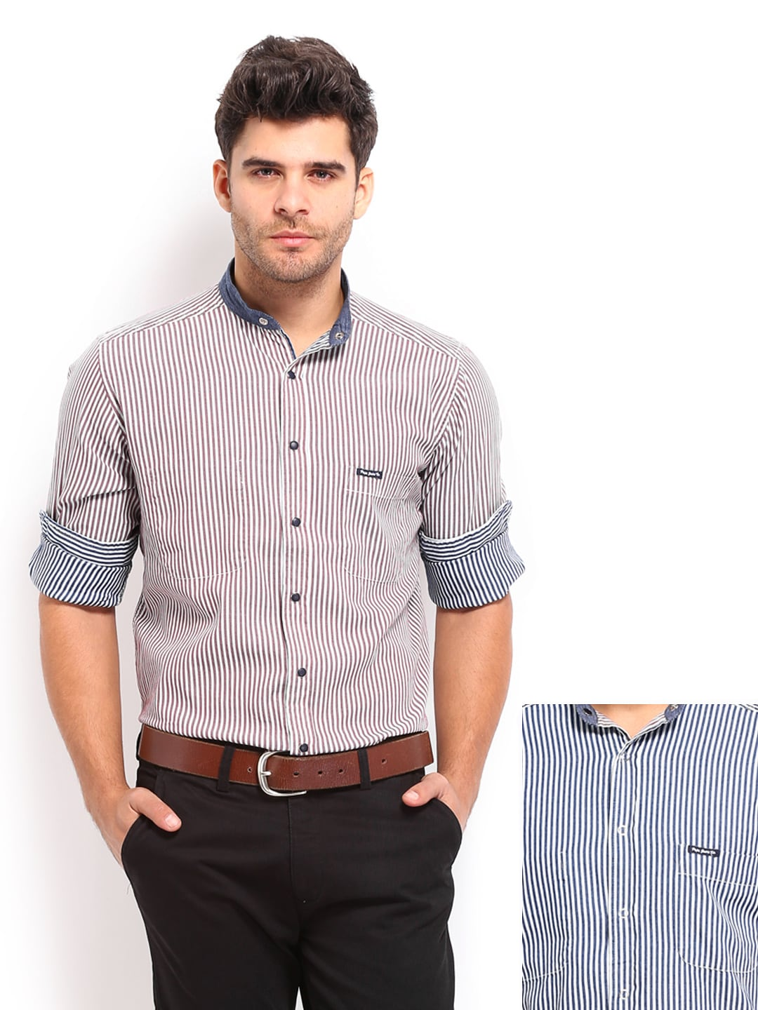 Pepe Jeans Men Maroon & Navy Striped Semi Fit Reversible Casual Shirt (multicolor)