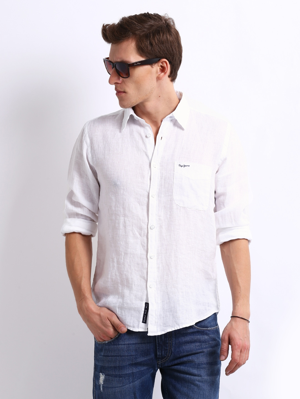 Buy Pepe Jeans Men White Linen Semi Fit Pekkos Casual