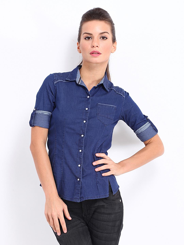 Buy pepe jeans women dark blue scafell denim casual shirt for Buy denim shirts online