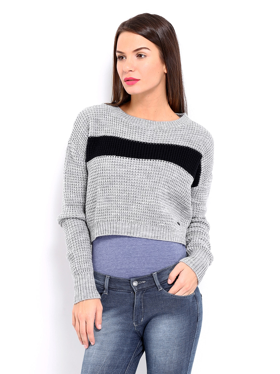 6896593156 Pepe Jeans Women Grey Melange Wool Blend Cropped Sweater (multicolor)
