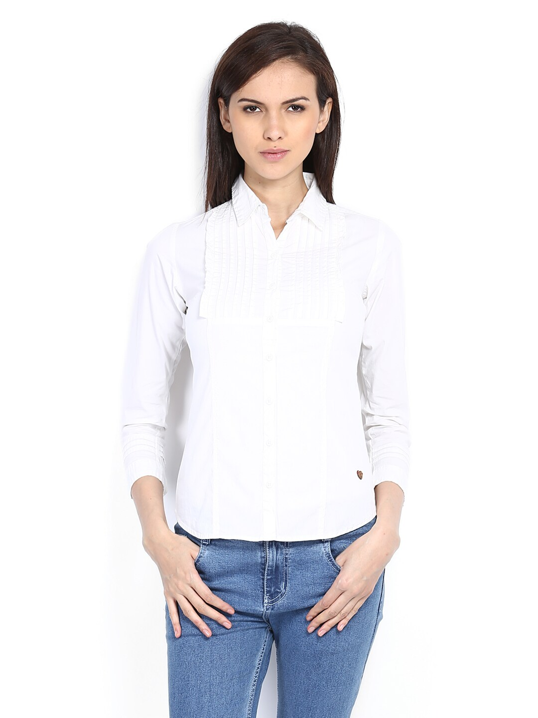 Women In Jeans And White Shirt The