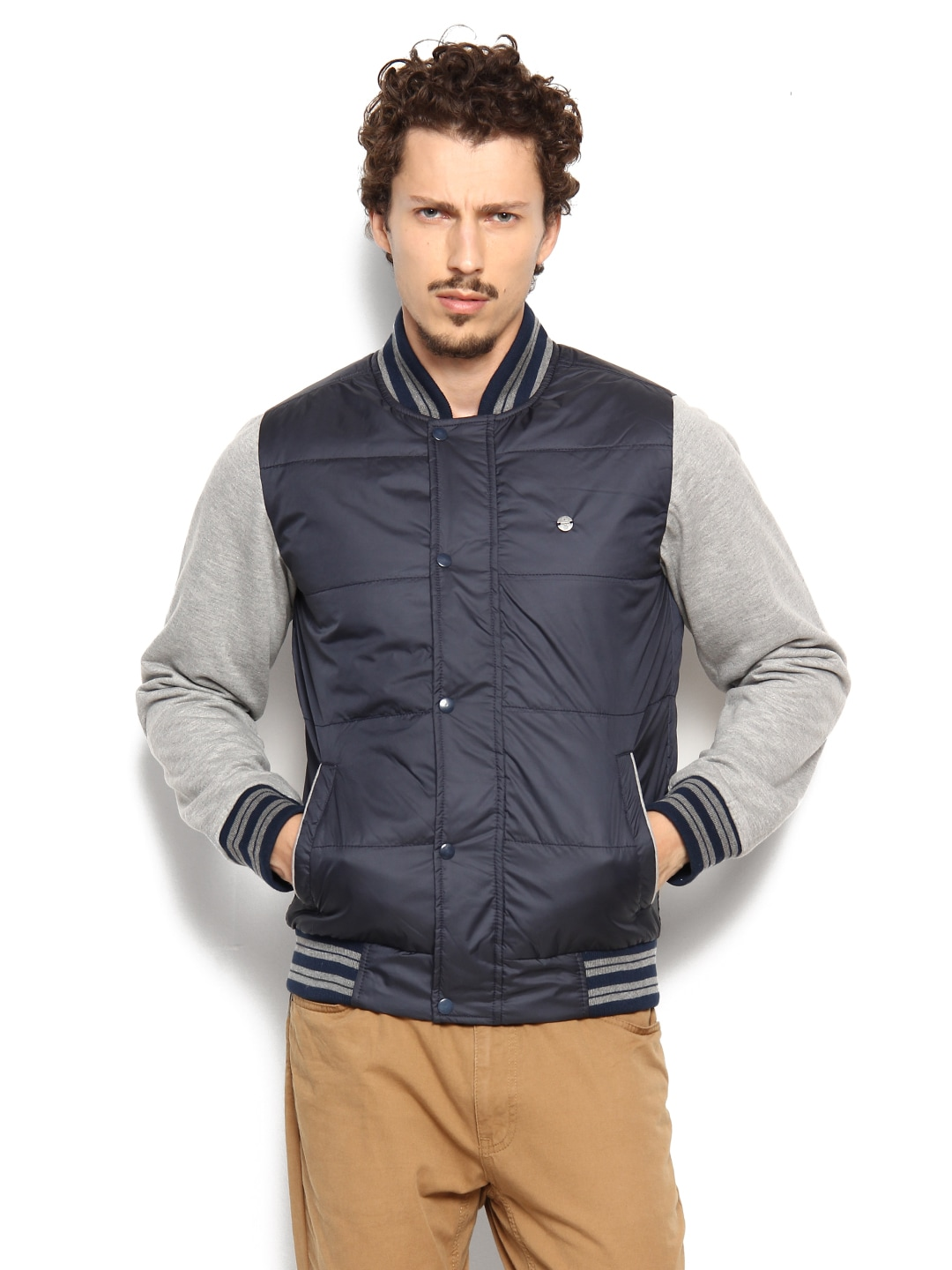 Peter England Men Navy Padded Jacket