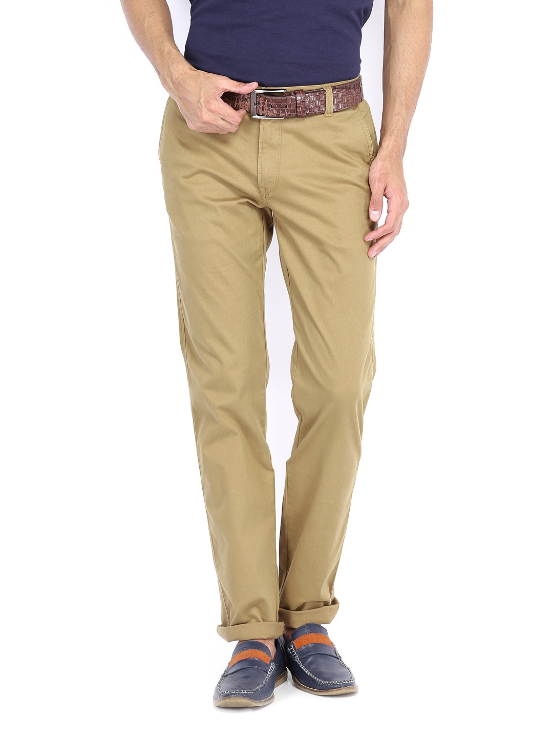 Peter England Men Khaki Slim Fit Trousers