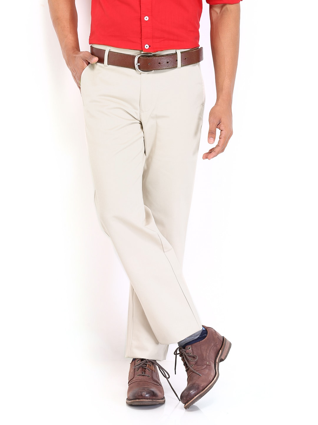 Peter England Men CreamColoured Smart Fit Trousers