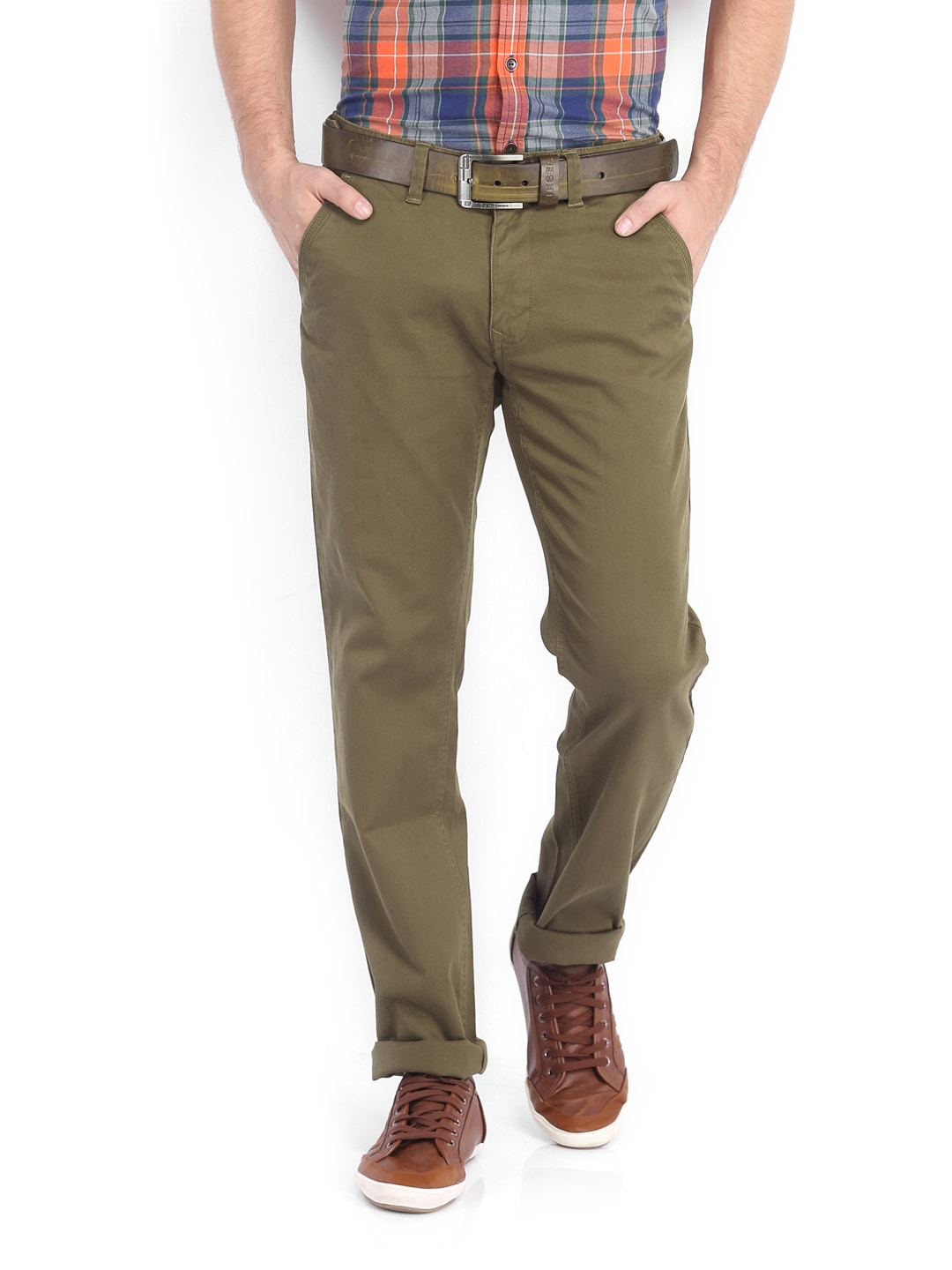 Peter England Men Dark Khaki Slim Fit Trousers