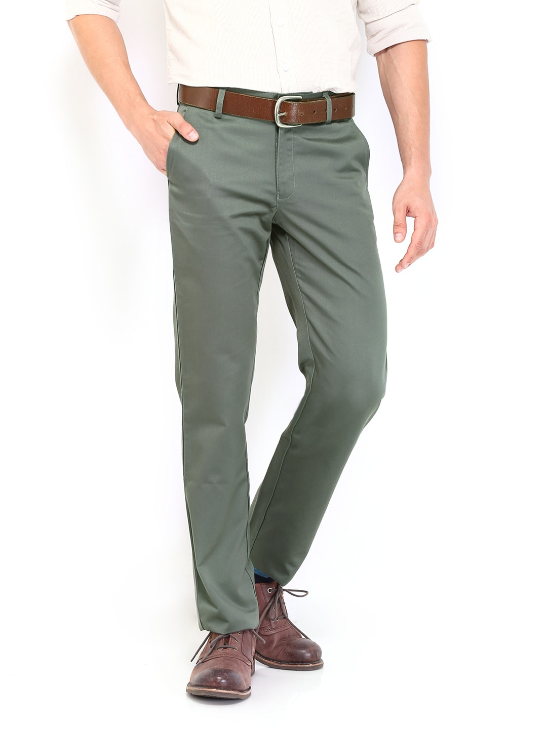 Peter England Men Green Smart Fit Trousers
