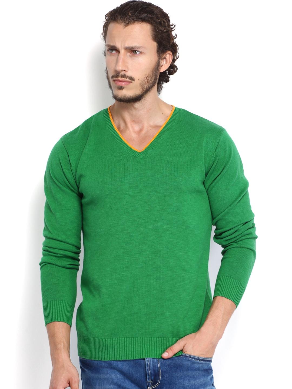 Peter England Men Green Sweater