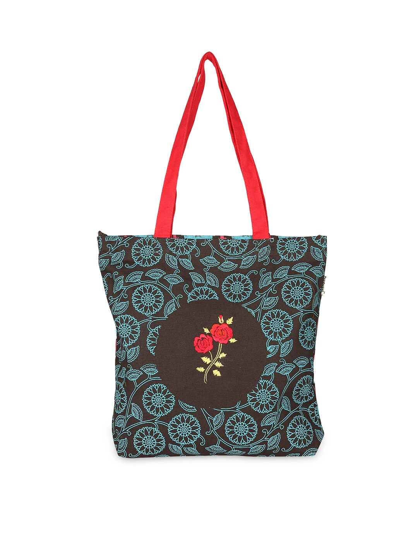 Pick Pocket Women Brown & Royal Blue Printed Tote Bag