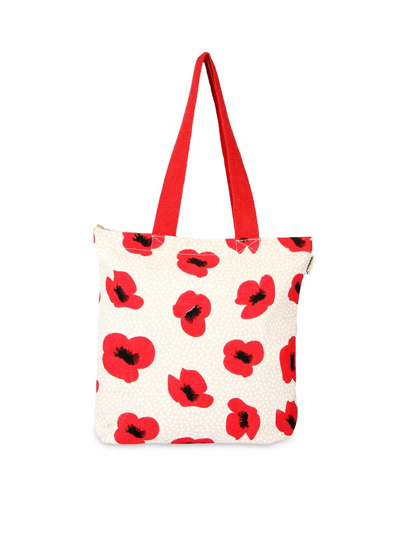 Pick Pocket Women Off-White & Red Printed Tote Bag