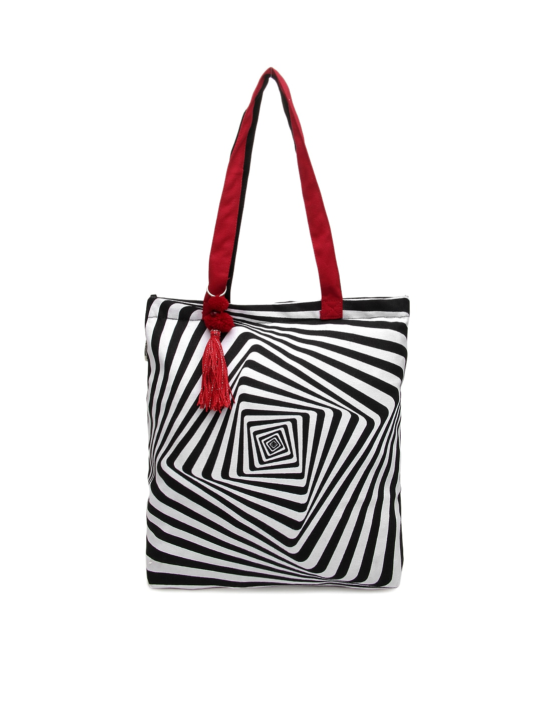 Pick Pocket Women White & Red Striped Tote Bag
