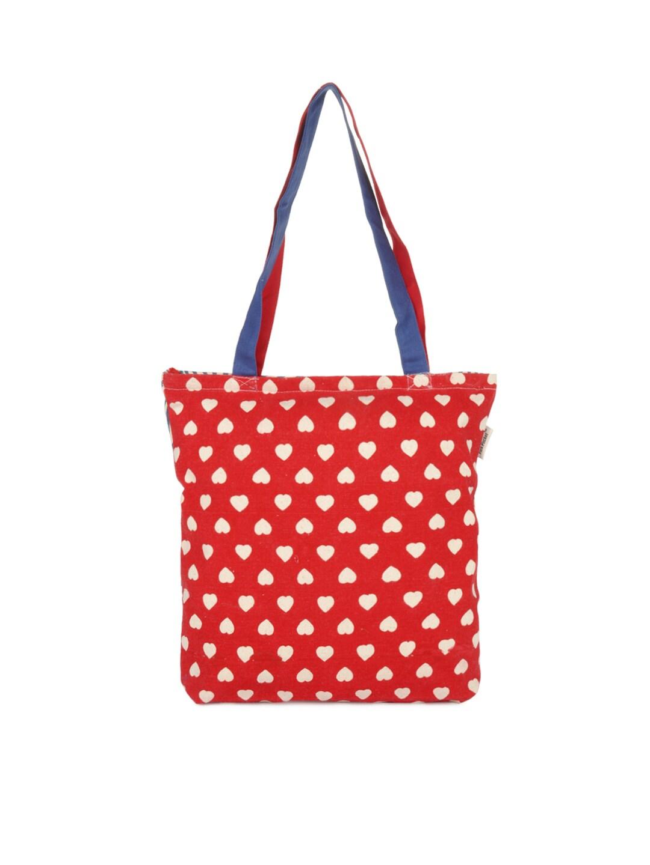 Pick Pocket Women Red Printed Tote Bag