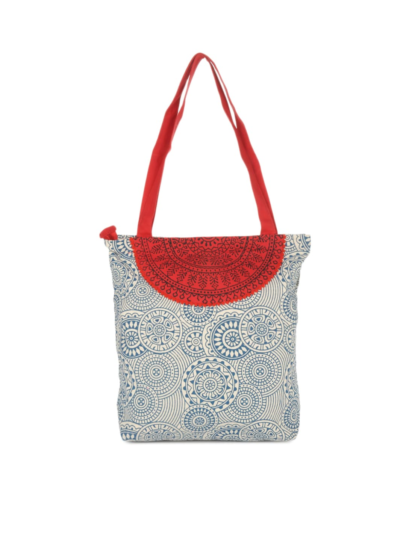 Pick Pocket Women White & Blue Printed Tote Bag