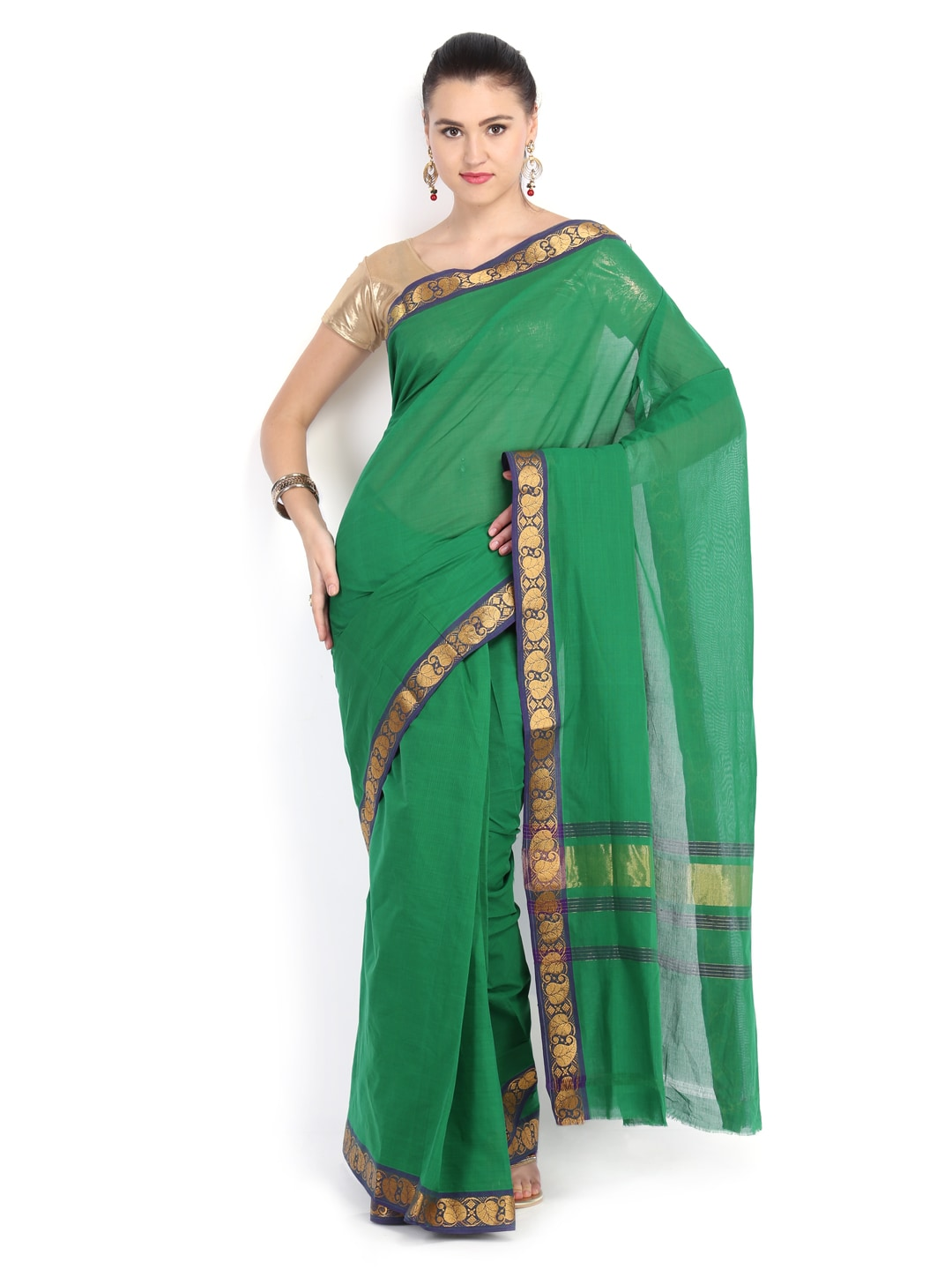 Platinum Green Cotton Traditional Saree (multicolor)