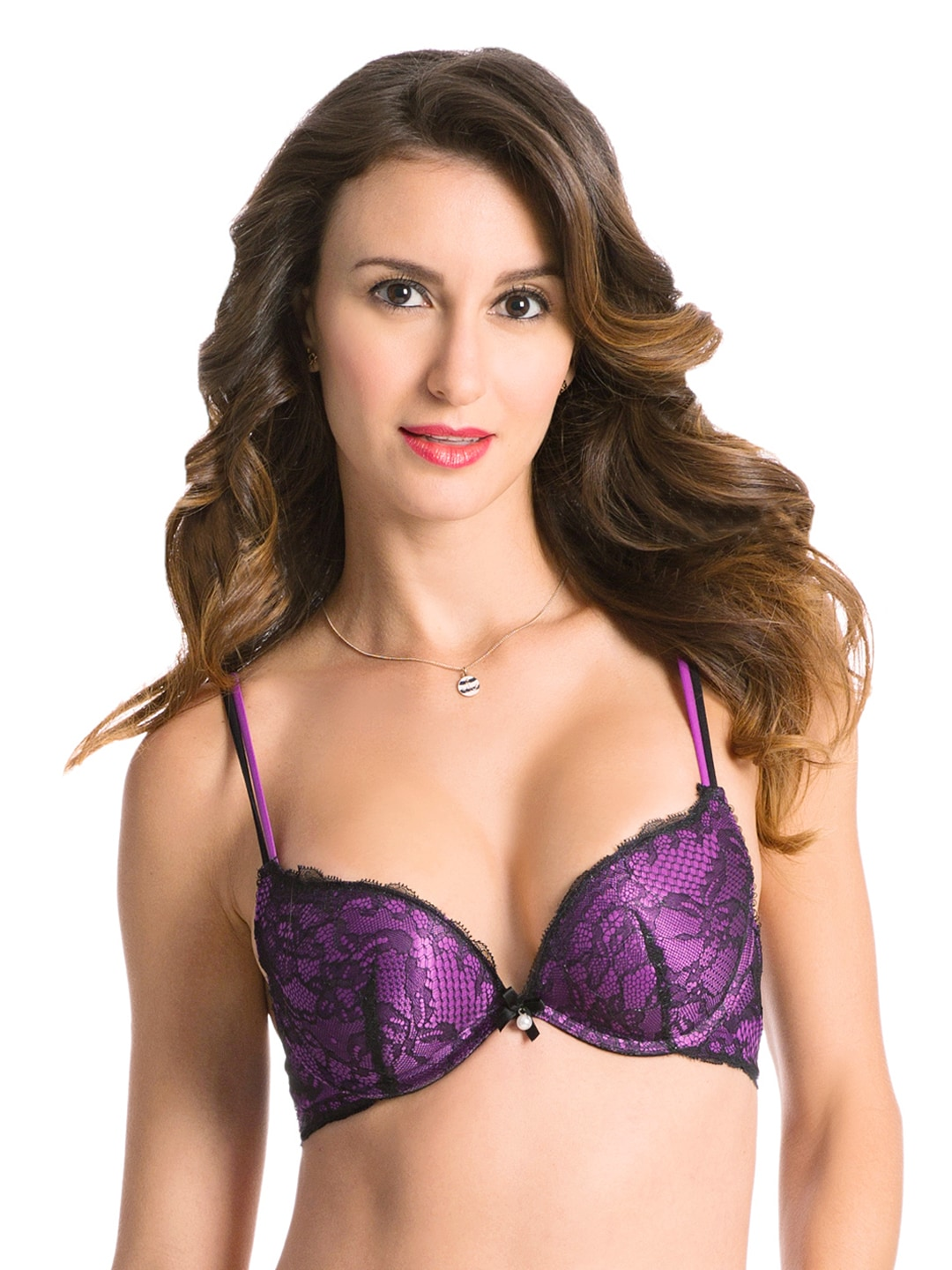 PrettySecrets Purple & Black Push-Up Plunge Bra PSBR2015SS002