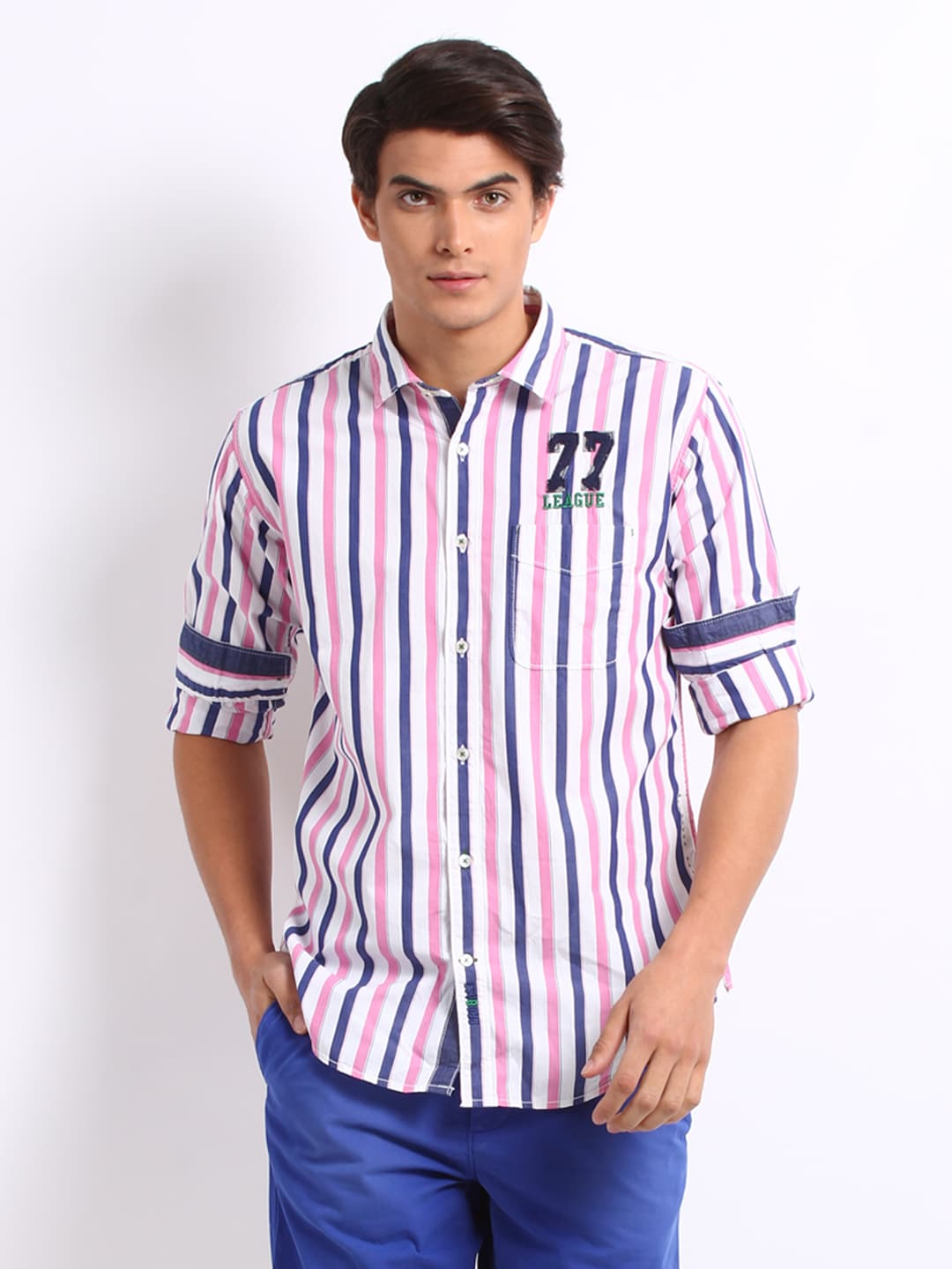 Probase Probase Men Blue And Pink Striped Casual Slim Fit Shirt (Multicolor)