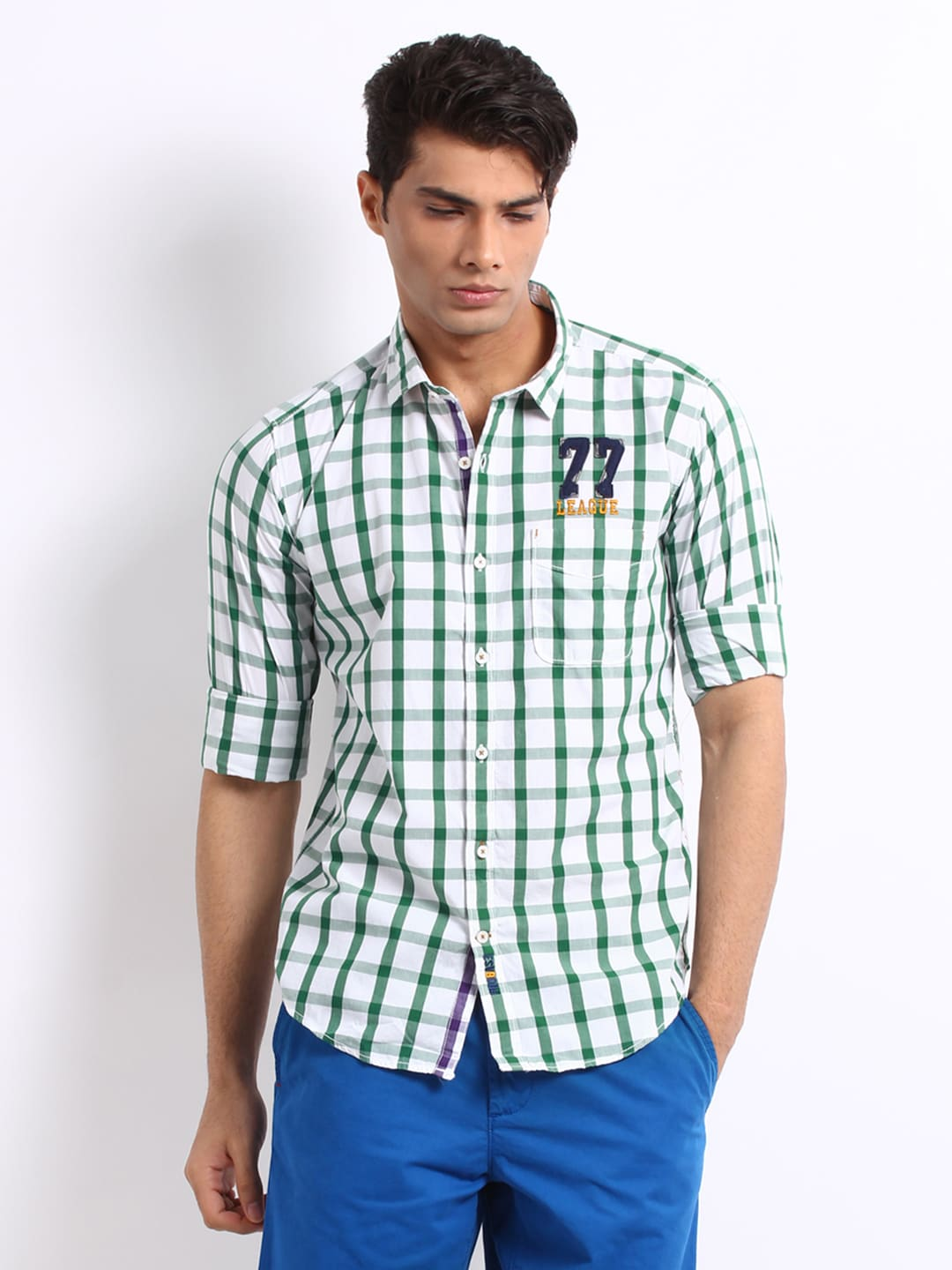 Probase Probase Men Green And White Casual Slim Fit Shirt (Multicolor)