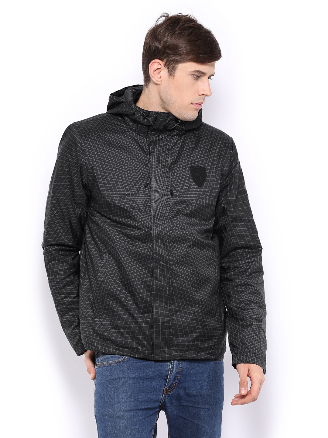 Puma Puma Men Black & Grey Quilted Ferrari Hooded Jacket (Multicolor)