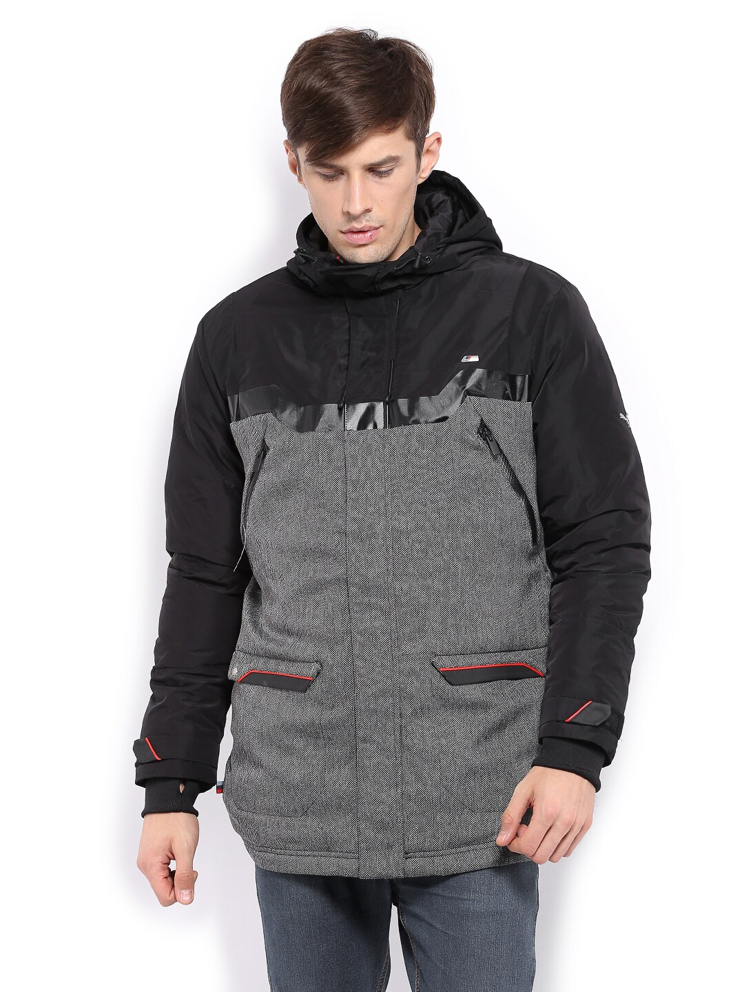 Puma Puma Men Black & Grey Padded Hooded Jacket (Multicolor)