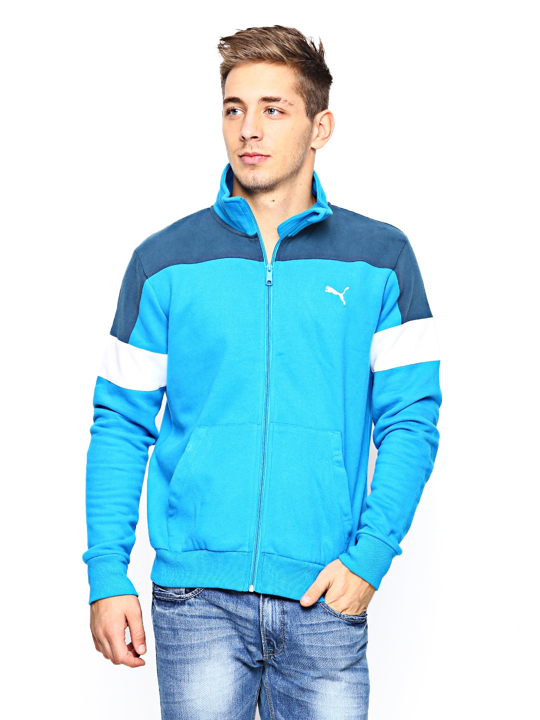 10891abb0af4 Buy Puma Men Blue Sports Jacket 8796988 for men online in india on ...