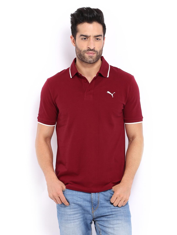 Buy puma men maroon polo t shirt 289 apparel for men for Maroon t shirt for men
