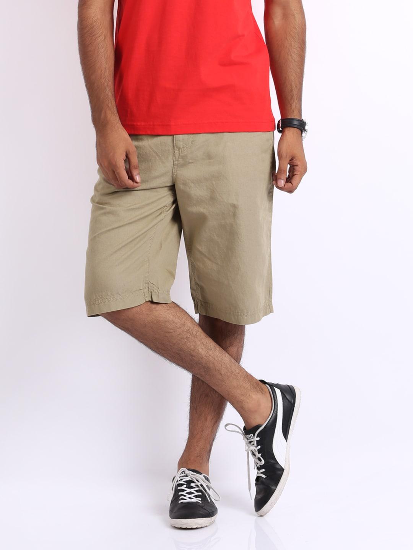 Puma Men Beige Linen Blend Shorts
