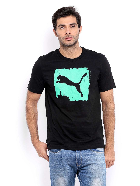 Puma men black printed t shirt for Printed t shirts india