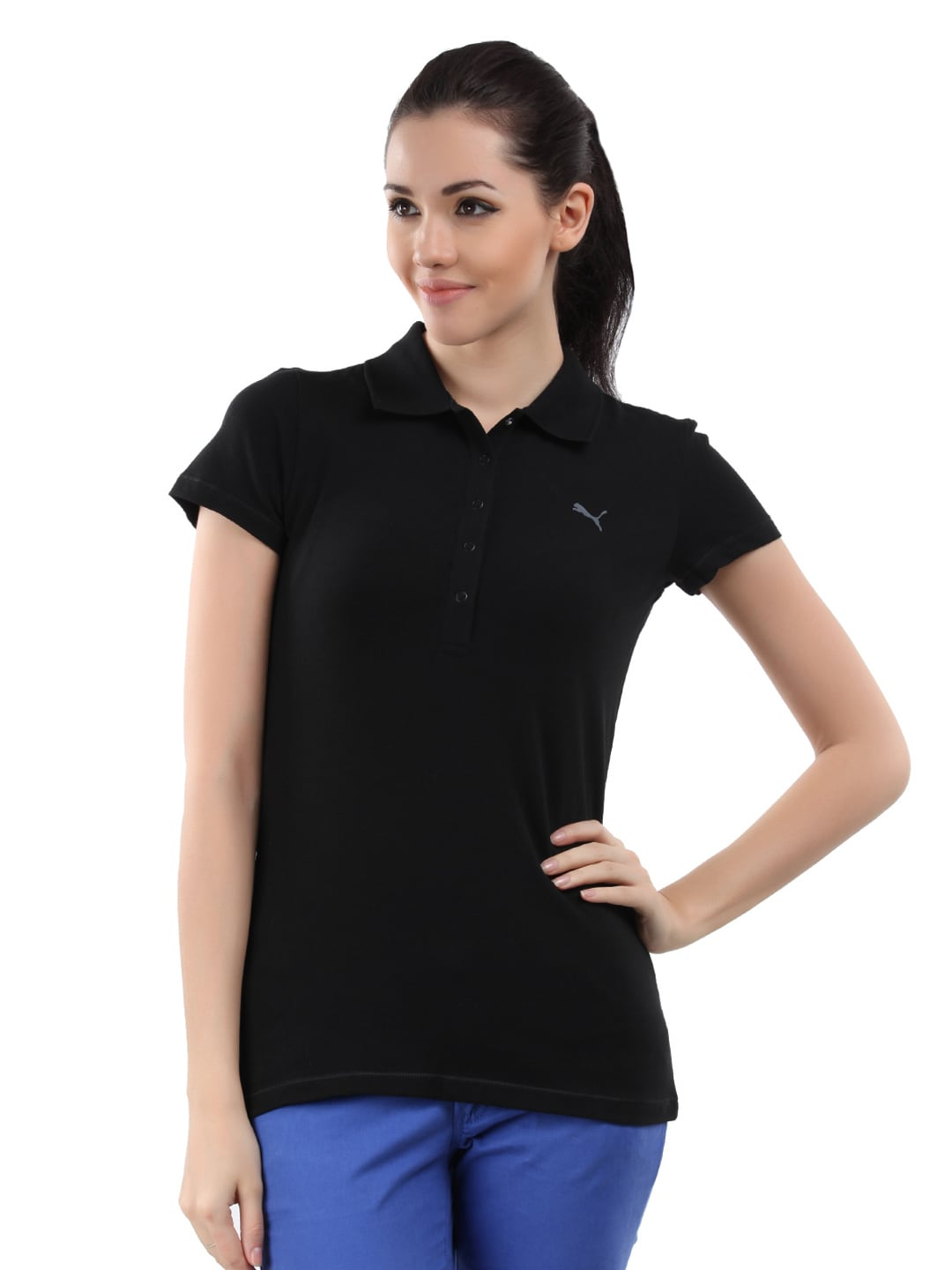 Buy puma women black polo t shirt 289 apparel for Womens black tee shirt