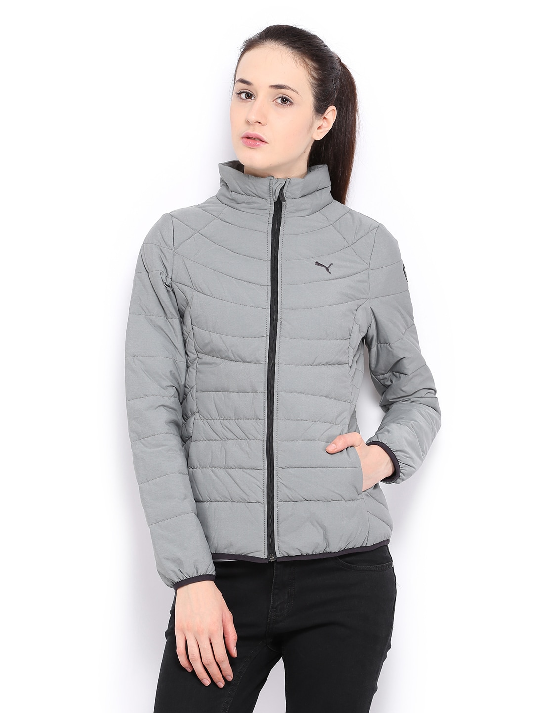 24704bde69a52 Buy Puma Women Grey Padded Jacket 1334310 for women online in india ...