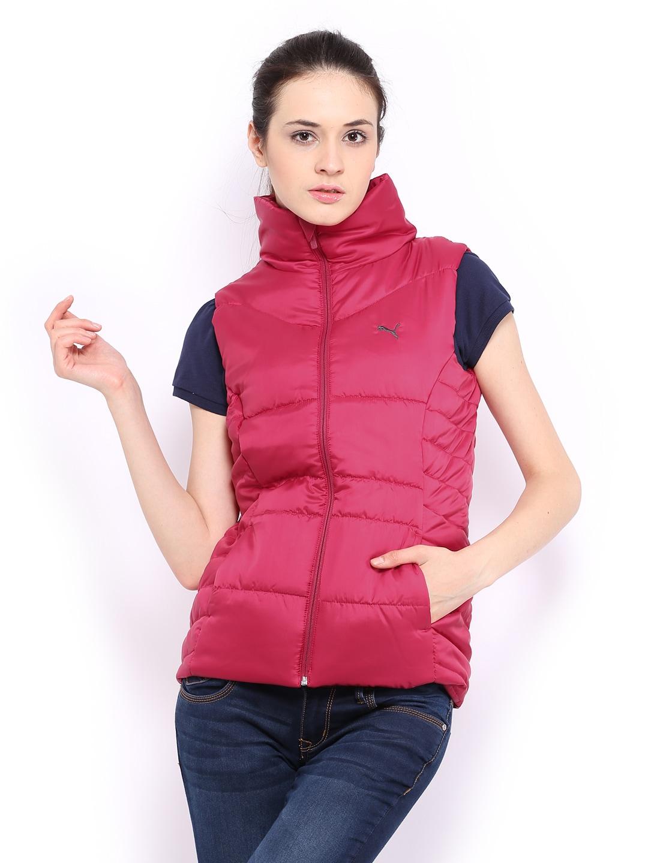 Puma Women Magenta Padded Sleeveless Jacket