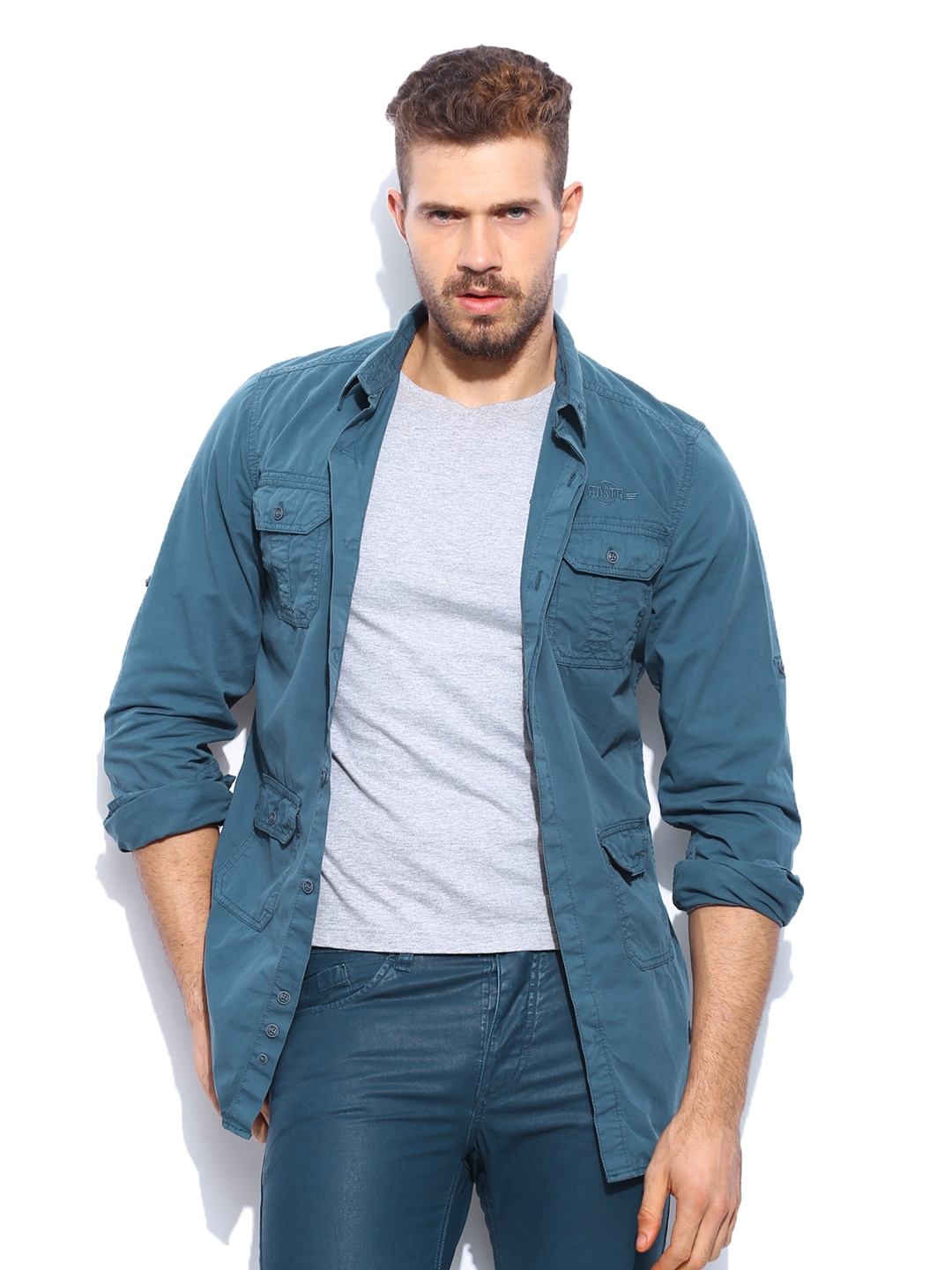 RDSTR Men Blue Vintage Dyed Shelby Slim Fit Casual Shirt Jacket