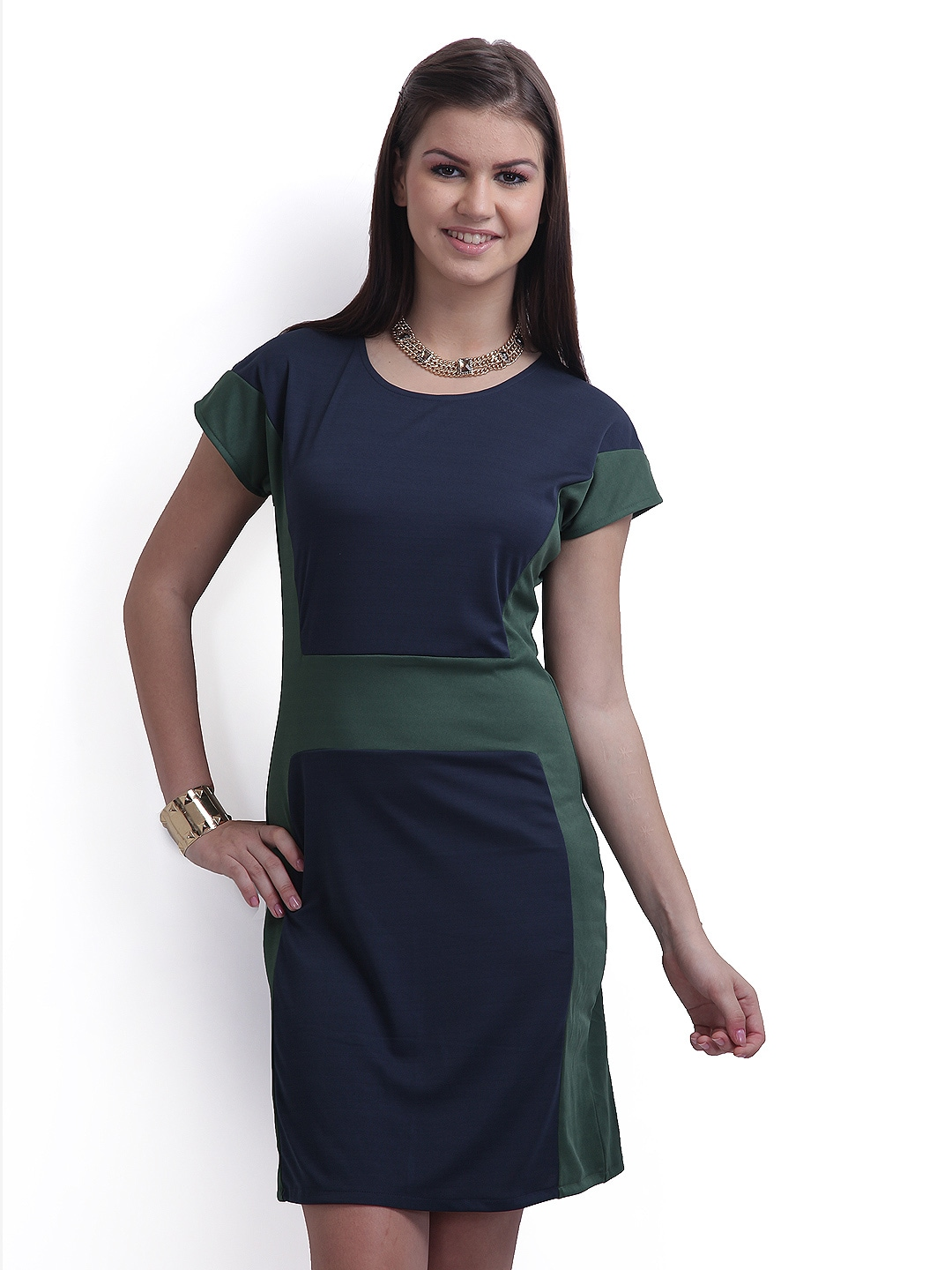 Popular  Navy Amp Green Color Block Maxi Berry Dress  Dresses For Women  Myntra