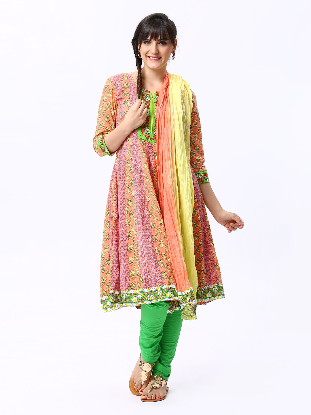 Rain & Rainbow Women Peach & Green Coloured Printed Anarkali Churidar Kurta with Dupatta (multicolor)